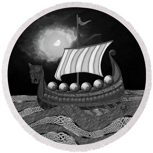 Round Beach Towel featuring the digital art Viking Ship_bw by Megan Dirsa-DuBois