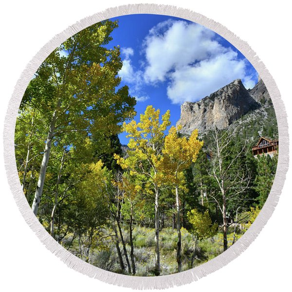 Village Beneath Mt. Charleston Round Beach Towel