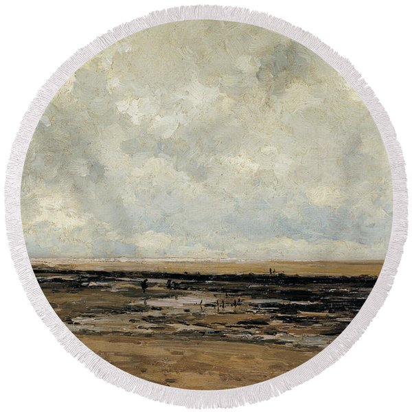Villerville Beach In Normandy Round Beach Towel
