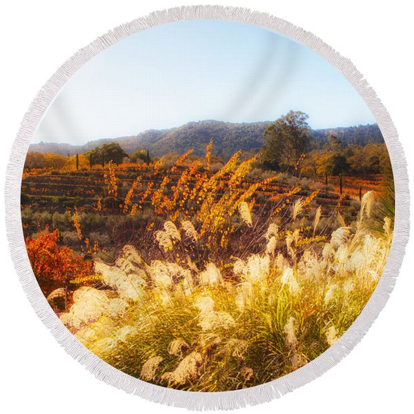 Round Beach Towel featuring the photograph Vineyard Afternoon By Mike-hope by Michael Hope
