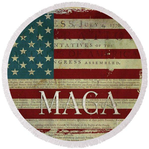 Vintage American Flag Americana Maga Declaration Of Independence Round Beach Towel