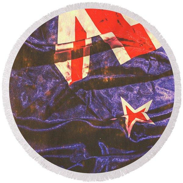 Vintage Kiwi Flag Round Beach Towel
