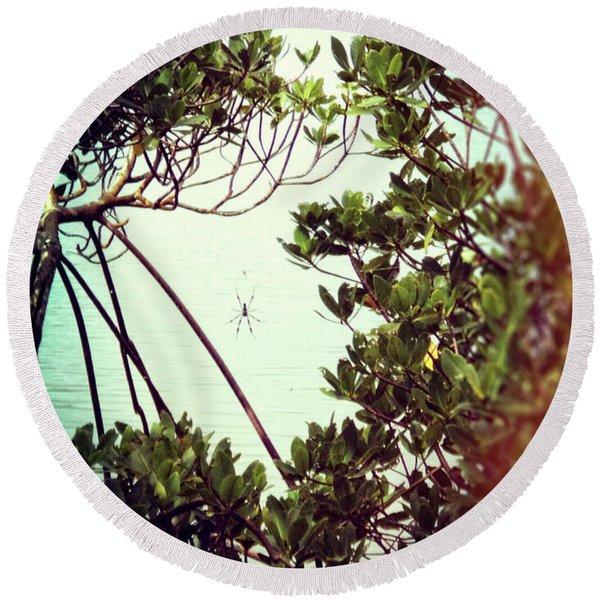 Round Beach Towel featuring the digital art Vintage Banana Spider by Megan Dirsa-DuBois