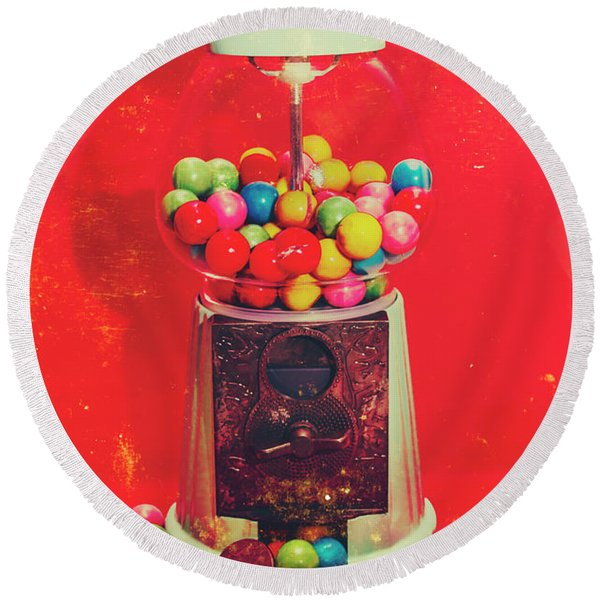 Vintage Candy Store Gum Ball Machine Round Beach Towel