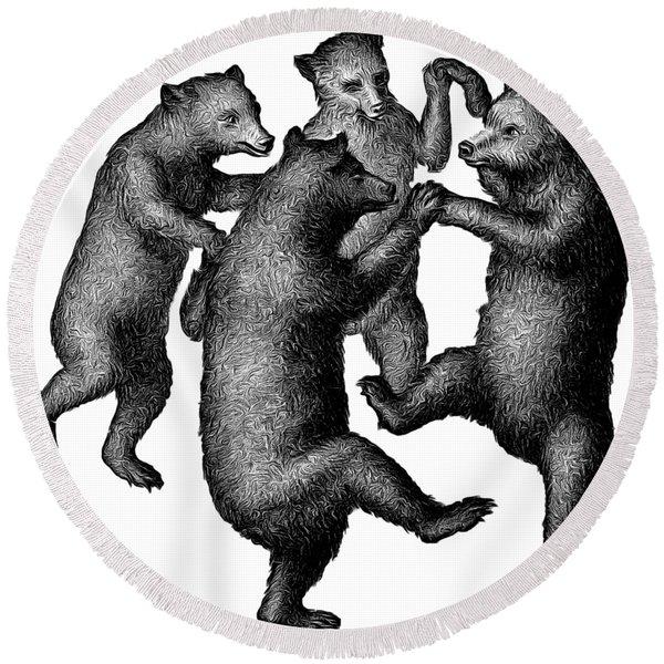Vintage Dancing Bears Round Beach Towel