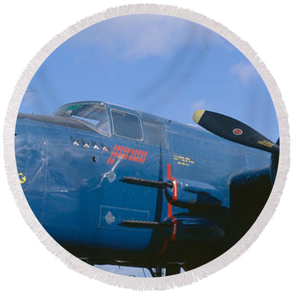 Vintage Fighter Aircraft, Burnet, Texas Round Beach Towel