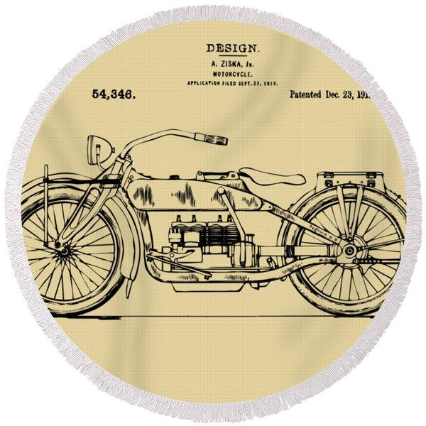 Vintage Harley-davidson Motorcycle 1919 Patent Artwork Round Beach Towel