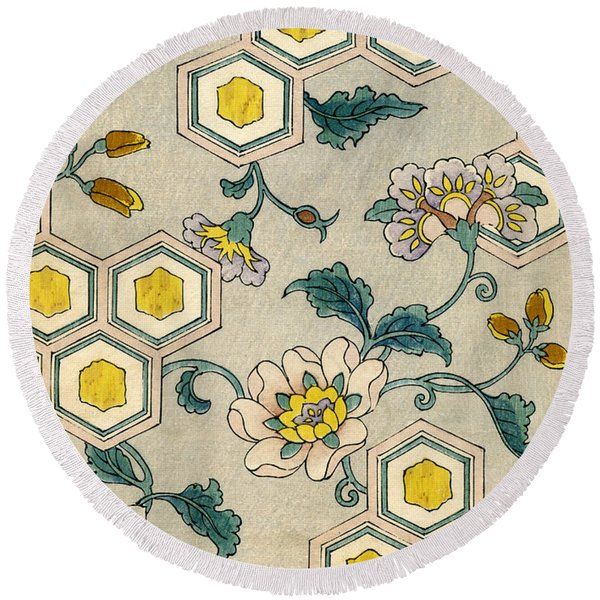 Vintage Japanese Illustration Of Blossoms On A Honeycomb Background Round Beach Towel