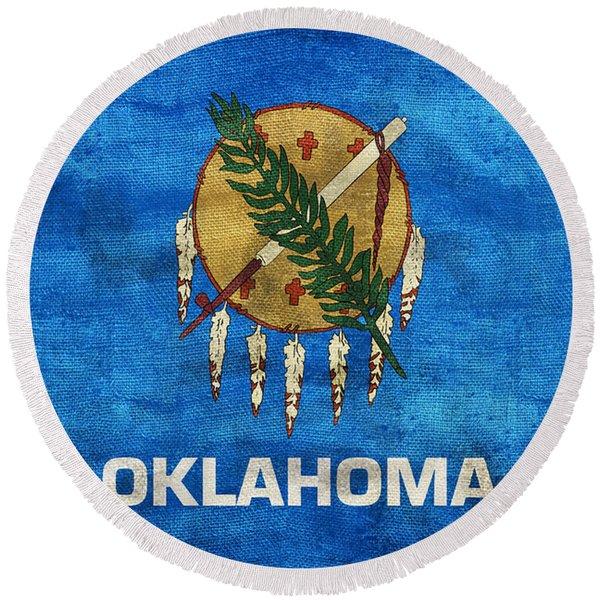 Vintage Oklahoma Flag Round Beach Towel