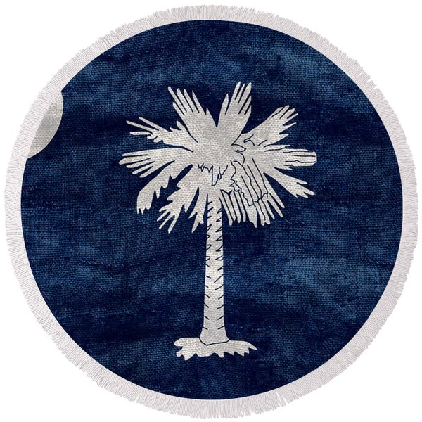 Vintage South Carolina Flag Round Beach Towel