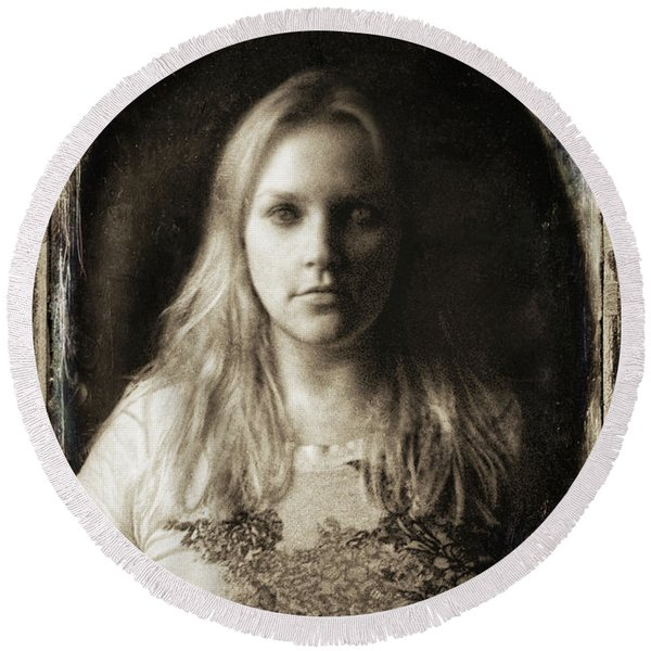 Vintage Tintype Ir Self-portrait Round Beach Towel