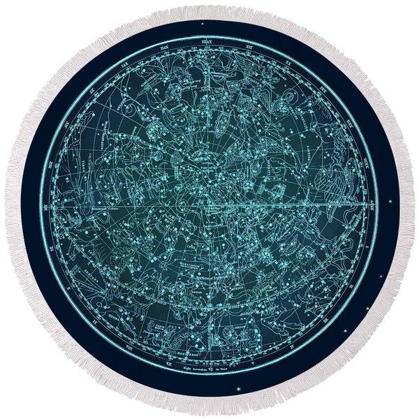 Vintage Zodiac Map - Teal Blue Round Beach Towel