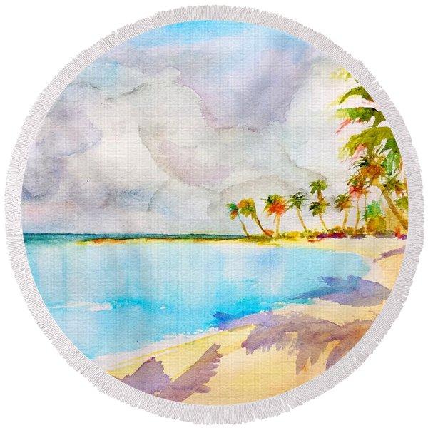 Virgin Clouds Round Beach Towel