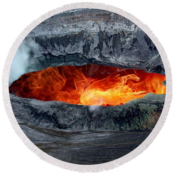 Volcanic Eruption Round Beach Towel