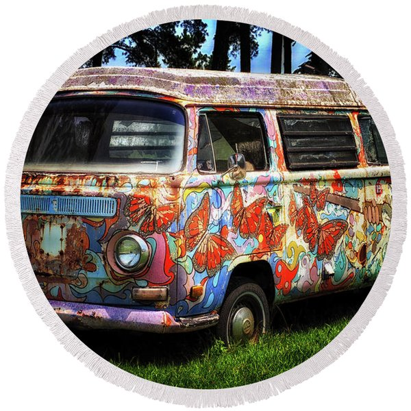 Vw Psychedelic Microbus Round Beach Towel