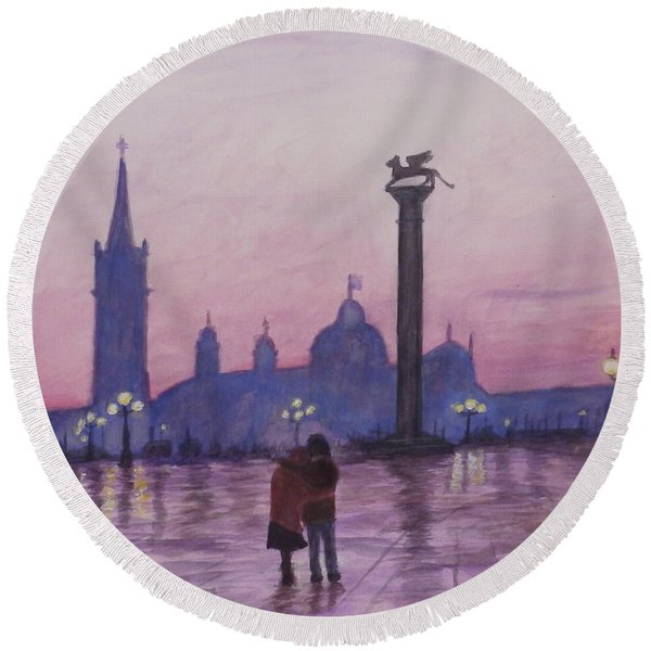 Walk In Italy In The Rain Round Beach Towel