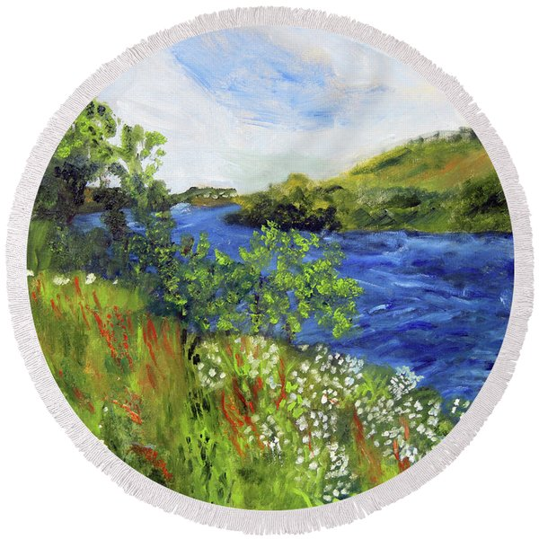 Walking Along The Moselle Round Beach Towel