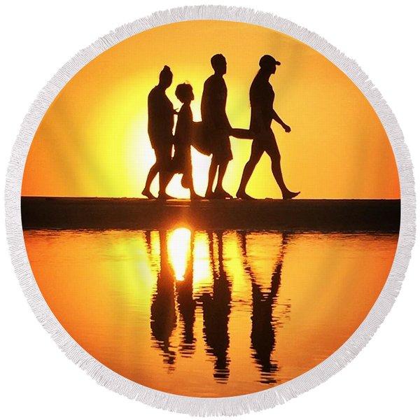 Walking On Sunshine Round Beach Towel