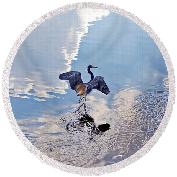 Round Beach Towel featuring the photograph Walking On Water by Carolyn Marshall