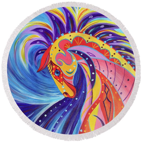 Round Beach Towel featuring the painting War Horse by Nancy Cupp
