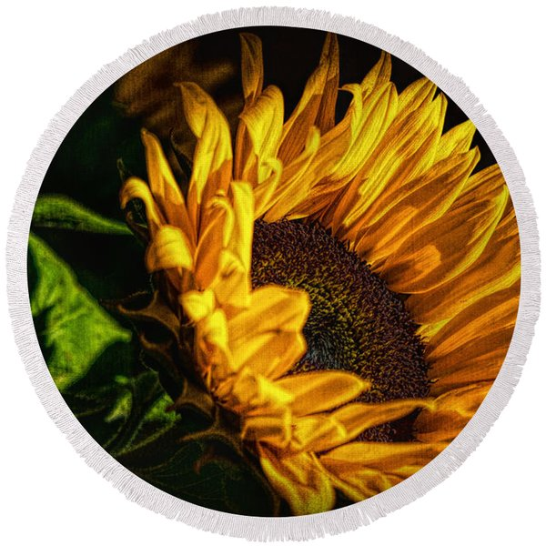 Round Beach Towel featuring the photograph Warmth Of The Sunflower by Michael Hope