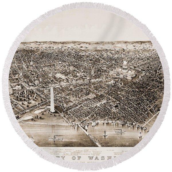 Washington D.c., 1892 Round Beach Towel