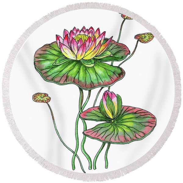 Water Lily Botanical Watercolor  Round Beach Towel