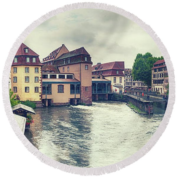 Round Beach Towel featuring the photograph water panorama in Strasbourg  by Ariadna De Raadt