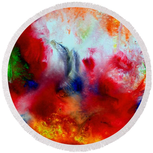 Watercolor Abstract Series G1015a Round Beach Towel