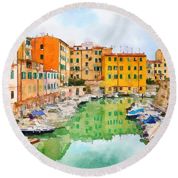 Watercolor Style Round Beach Towel