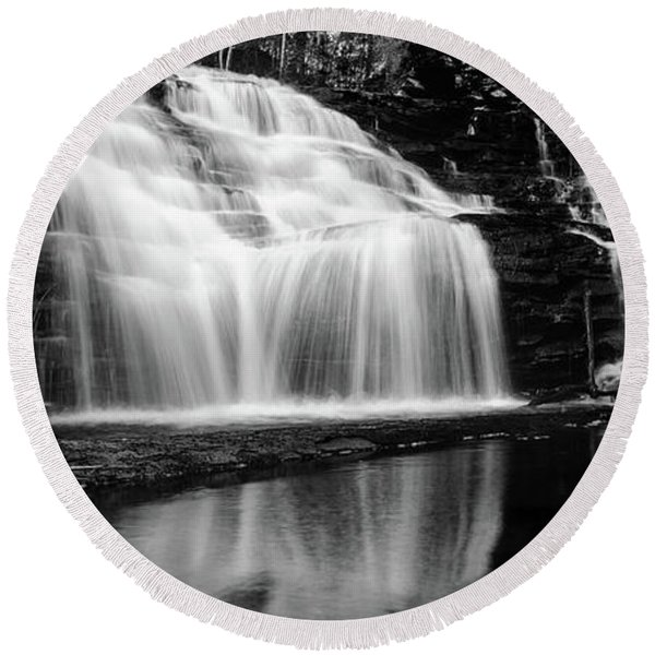 Waterfall Reflection Round Beach Towel
