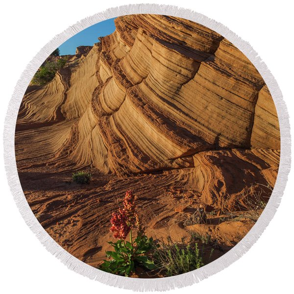 Round Beach Towel featuring the photograph Waterhole Canyon Evening Solitude by Lon Dittrick