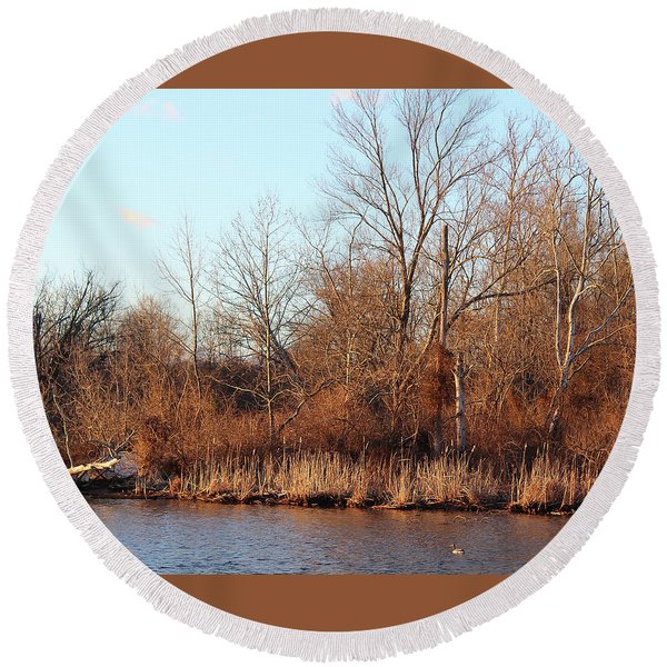 Northeast River Banks Round Beach Towel
