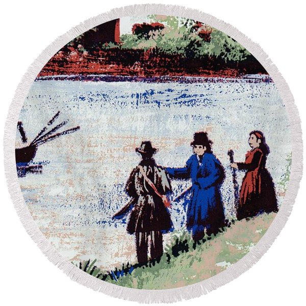 Round Beach Towel featuring the mixed media Waters Edge by Writermore Arts