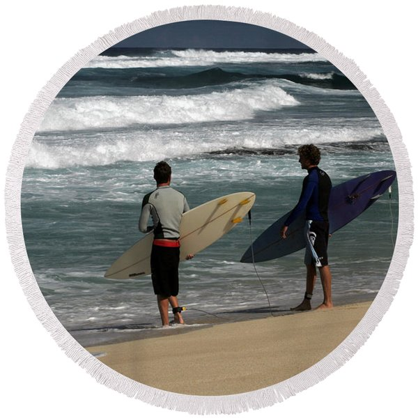 Wave Watch Round Beach Towel