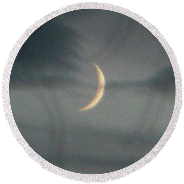 Waxing Crescent Moon Round Beach Towel