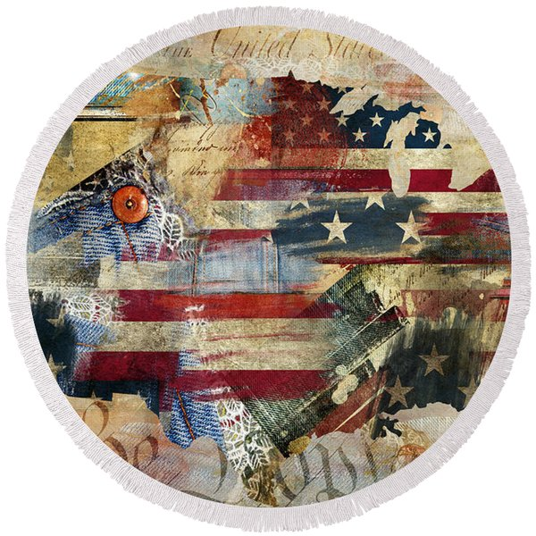 We The People Map America Round Beach Towel