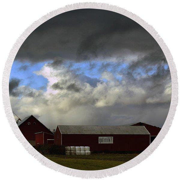 Weather Threatening The Farm Round Beach Towel