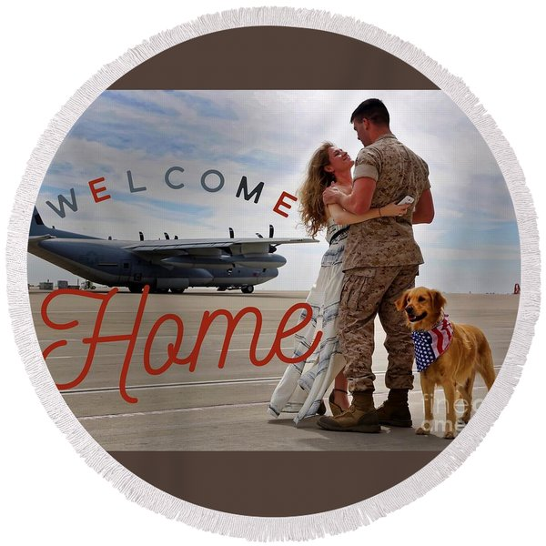 Welcome Home Round Beach Towel