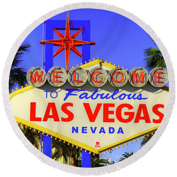 Welcome To Las Vegas Round Beach Towel