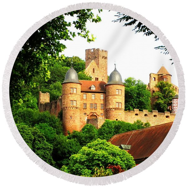 Wertheim Castle Round Beach Towel