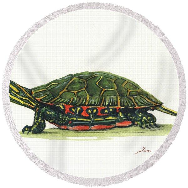 Western Painted Tortoise Round Beach Towel