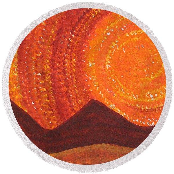 Western Sky Wave Original Painting Round Beach Towel