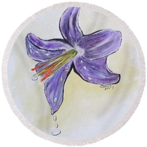Wet Flower Round Beach Towel