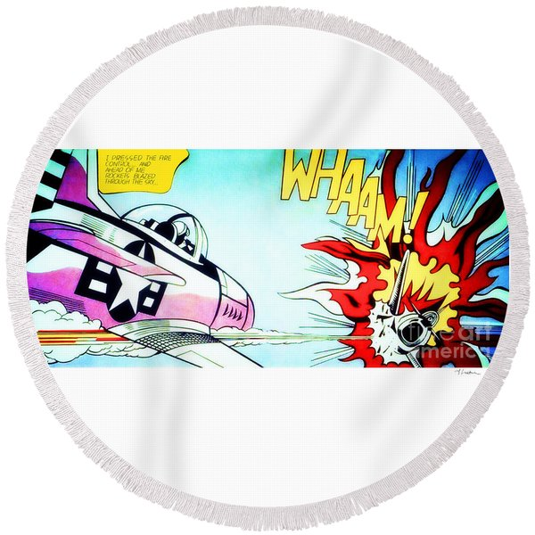 Whaam - Roy Lichtenstein  Round Beach Towel