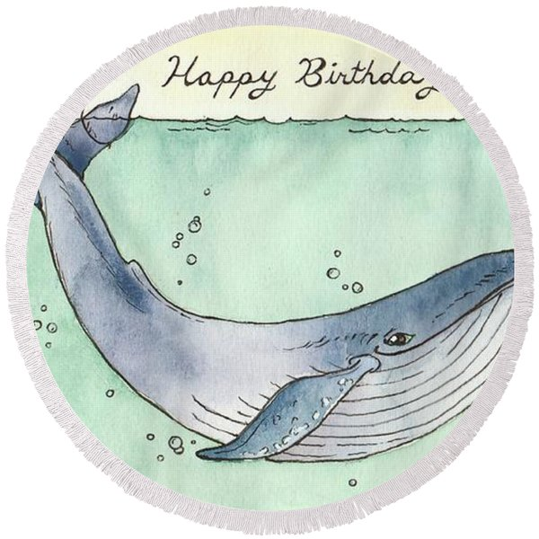 Whale Happy Birthday Card Round Beach Towel