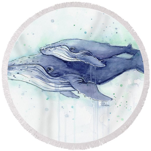 Whales Humpback Watercolor Mom And Baby Round Beach Towel