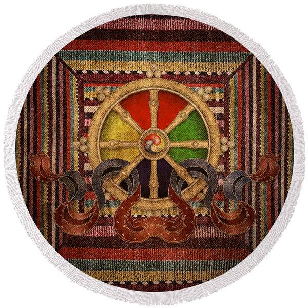 Wheel Of The Dharma Round Beach Towel