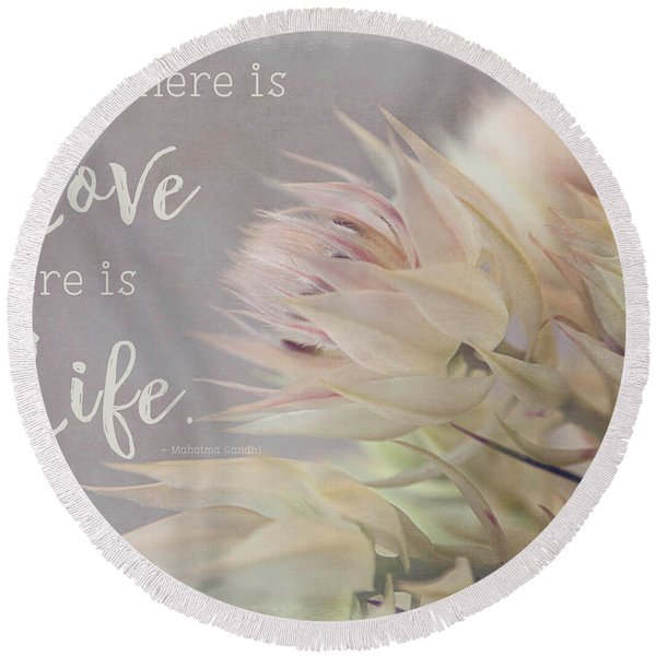 Where There Is Love Round Beach Towel