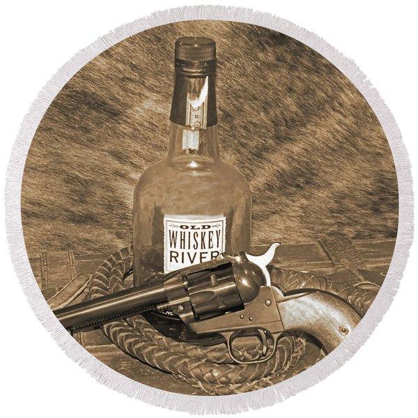 Whiskey And A Gun Round Beach Towel